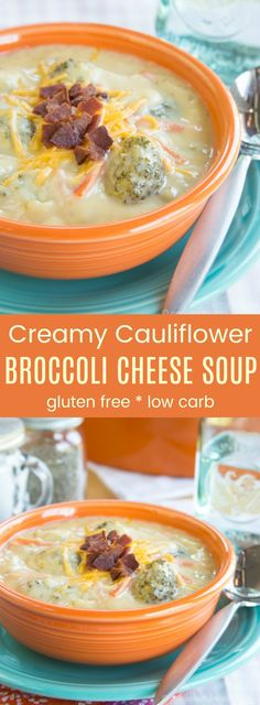Cauliflower Broccoli Cheese Soup - just as creamy and cheesy as a classic broccoli cheddar soup recipe but more veggies make it more healthy! Gluten free and low carb too.