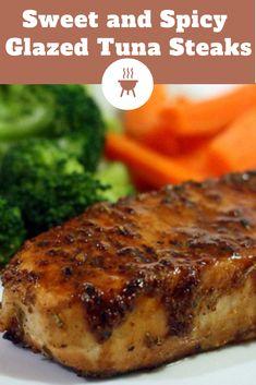 Sweet and Spicy Glazed Tuna Steaks - Hope And Lucky Ahi Tuna Recipe Baked, Fresh Tuna Steak Recipes, Baked Tuna Steaks, Healthy Steak Recipes, Seafood Recipes, Cooking Recipes, Marinade For Tuna Steaks, Albacore Tuna Recipes, Fish Recipes