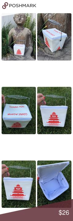 """Chinese Take Out Bag purse Each Chinese Take Out Bag stands at 7″ tall – which makes it perfect to use as a handbag, lunchbox, or storage container. Plus it looks like an authentic box of chinese take-out right down to the metal handle and the words """"Thank You"""" and """"Come again"""" written on the top. Used 2x no scuffs holes or rips Bags"""