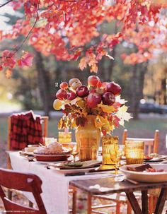 Rustic Autumn Picnic...apples in the centerpiece :)