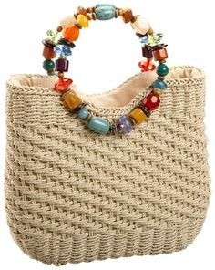 bead handle straw handbag