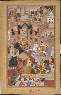 This painting by Kesav Kalan and Jagjivan is an illustration to the Akbarnama, and is the left side of a double page composition (the right half is IS.2:110-1896). It depicts the rejoicings at Akbar's return to Fatehpur Sikri following his victory in the Gujarat.  The Akbarnama (Book of Akbar) was commissioned by the emperor as the official chronicle of his reign. It was written by his court historian and biographer Abu'l Fazl between 1590 and 1596