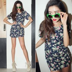 Flower dress (by Sora Park) http://lookbook.nu/look/4550063-flower-dress
