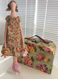 Fabric doll handmade cloth doll lovely art doll blonde green pink red strawberry…