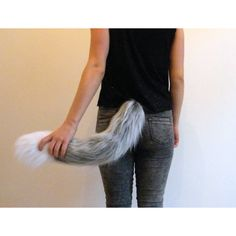 Grey Wolf Tail, Faux Fur Clip On Cosplay ($26) ❤ liked on Polyvore featuring costumes, wolf halloween costume, faux fur costume, wolf tail costume, cosplay costumes and tail costume