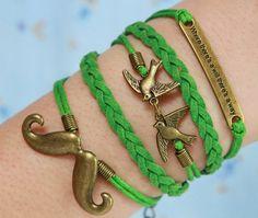 Beard Bracelet -Bronze Bracelet,Bird ,Will  Bracelet,Green Wax Bracelet, Green Flocking Leather Bracelet, Gifts for friend on Etsy, $0.79 AUD