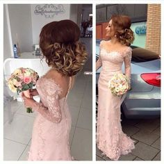 Charming Long Sleeves Lace Applique Mermaid Long Bridesmaid Dresses, BG51467