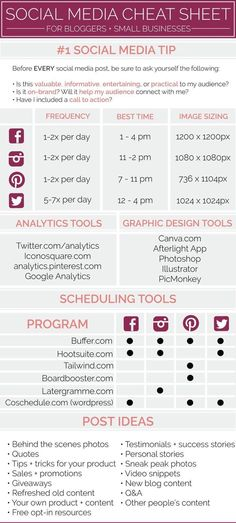 Social Media Cheat Sheet - Posting tips, analytics tools, graphic design tools, scheduling tools Social Media Cheat Sheet, Social Media Plattformen, Social Media Analytics, Social Media Calendar, Social Media Branding, Social Media Marketing, Marketing Plan, Social Media Management, Content Marketing