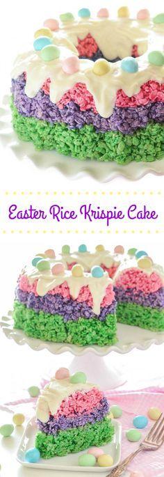LOVE LOVE LOVE this Easter Rice Krispie Cake! So easy! Festive easy no-bake dessert for #Easter!
