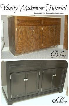 Remodelaholic | Updating A Bathroom Vanity Mom you could do this is the small bathroom off the laundry room