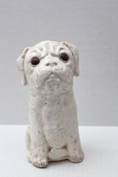 vintage white chalkware dog // pug // bulldog // by RedTuTuRetro, $25.00