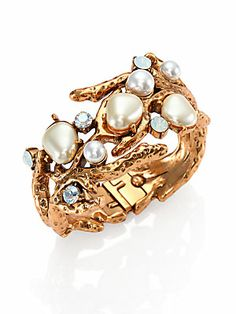 Oscar de la Renta Swarovski Crystal & Faux Pearl Coral Branch Cuff Bracelet