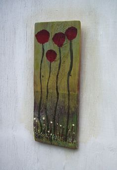 Shingle painting 4 red flowers on reclaimed wood by bearpawrustics