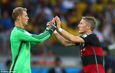 Quiet night: Germany keeper Manuel Neuer (left) was under little pressure as Germany racke...