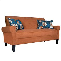 The angelo:HOME Ennis sofa was designed by Angelo Surmelis. The Ennis sofa features squared arms and is covered in a velvety plush orange rust autumn chenille.