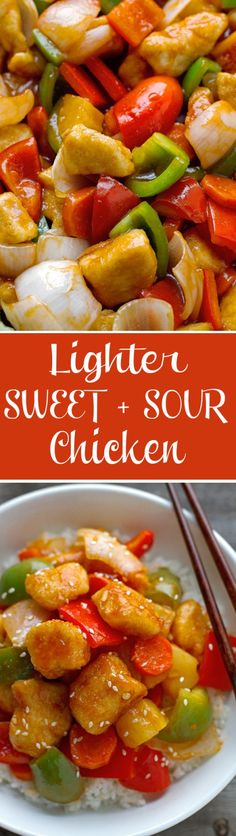 Lighter Sweet and Sour Chicken ~ It takes just 30 minutes from start to finish and it's healthier than your local takeout!