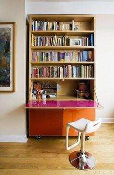 custom-made bookshelf/secretary desk by garett neudeck