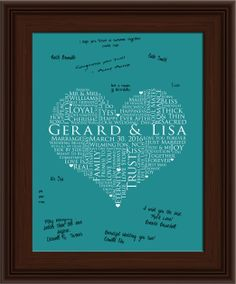 13x19 Signature Guest Book, Wedding heart Guestbook, personalized wedding word art, WEDDING GUESTBOOK SIGNATURE poster, love words poster. $46.25, via Etsy.