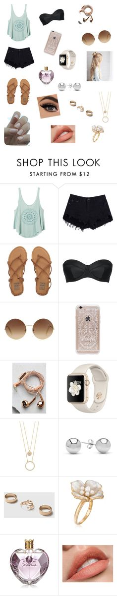 """""""Summer love"""" by makaylal-1 ❤ liked on Polyvore featuring RVCA, Billabong, L'Agent By Agent Provocateur, Victoria Beckham, Rifle Paper Co, Happy Plugs, Kate Spade, Jewelonfire, Dorothy Perkins and Ross-Simons"""
