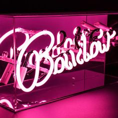 Neon light encased in a glossy acrylic box with a mirror back. Acrylic Box, Neon Lighting, Neon Signs, Mirror, Bedroom, Pink, Mirrors, Bedrooms, Pink Hair