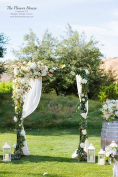 Winery wedding alter designed by the Flower House