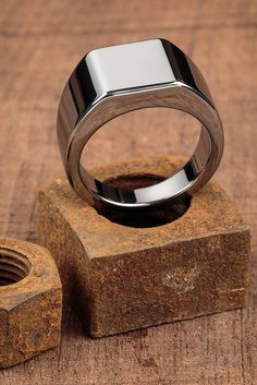 "Made from tungsten, the Lourd is by far our weightiest ring, and fittingly takes it's name from the French word for ""heavy."" Based on a classic school ring, this is one of our most refined pieces to d Wedding Rings For Women, Wedding Men, Rings For Men, Wedding Bands, Gold Man, Sterling Silver Rings, Silver Jewelry, Ring Bracelet, Bracelets"