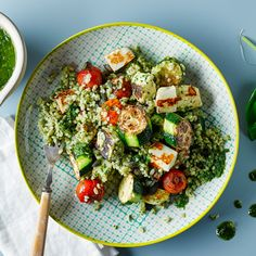 A quick and easy Mediterranean Halloumi Bulgur recipe, from our authentic Italian cuisine collection. Find brilliant recipe ideas and cooking tips at Gousto Bulgur Recipes, Healthy Salad Recipes, Lunch Recipes, Vegetarian Recipes, Dinner Recipes, Cooking Recipes, Cooking Tips, Healthy Appetizers, Halloumi