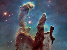 NASA Releases New Photos of Pillars of Creation Taken by Hubble Telescope - The Atlantic Carina Nebula, Orion Nebula, Andromeda Galaxy, Hubble Space Telescope, Space And Astronomy, Telescope Images, Cosmos, Hubble Photos, Nasa Hubble Images