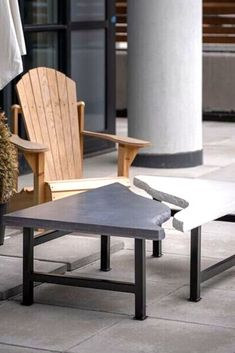 With the price of wood getting expensive see this DIY outdoor concrete table tutorial on a budget. Concrete Table, Concrete Slab, Concrete Countertops, Diy Outdoor Furniture, Outdoor Chairs, Roof Panels, Hotel Decor, Diy Planters, Diy Patio