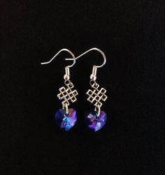 Outlander Inspired Earrings, Celtic Weave, Swarovski Heliotrope Heart,  Valentine's Day