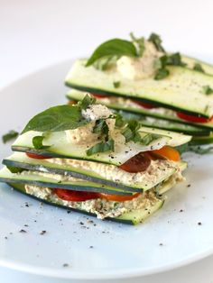 Raw Zucchini and Tomato Lasagna #glutenfree #vegan #raw