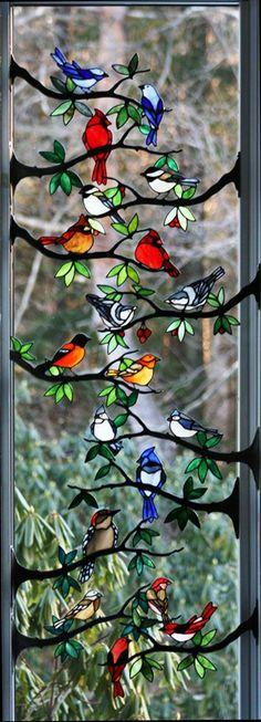 Beautiful 'birdie' window by Chippaway Art Glass <> (bird, motif, stained glass, art)
