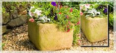 Stone-look planter created from a styrofoam cooler