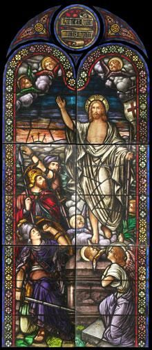 Antique Ressurection Church Stained Glass Window DESCRIPTION: Antique Resurrection stained glass window from a Catholic church in Elizabeth, NJ. These windows are extremely high quality and are of the traditional Munich style.