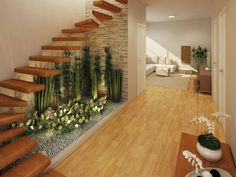 Jardines interiores bajo escaleras - indoor gardens under stairs Interior Garden, Home Interior Design, Exterior Design, Interior And Exterior, Staircase Lighting Ideas, Staircase Design, Open Staircase, Wall Lighting, Lighting Design