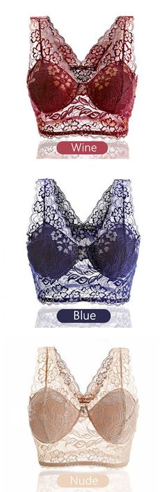 US$6.77  Women Sexy Lace Embroidered Seamless Bra No Rims Sleeping Vest Bras…