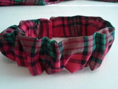 Christmas,Dog Collar Cover,Scrunchie,Red,Plaid,Custom Made by Linda,XS,S,M,L #CustommadebyLinda
