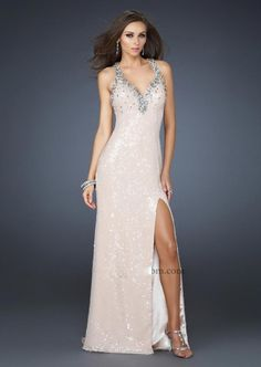 Discount V-neck Sleeveless with Beaded Sequins Floor Length Prom Dress Online