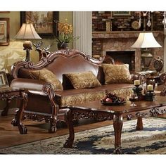 Dresden Traditional PU Leather Fabric Formal Living Room Sofa