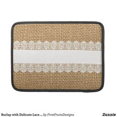 Burlap with Delicate Lace - Shabby Chic Style MacBook Pro Sleeve