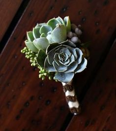 Succulent wedding flower boutonniere, groom boutonniere, groom flowers, add pic source on comment and we will update it. www.myfloweraffair.com can create this beautiful wedding flower look.
