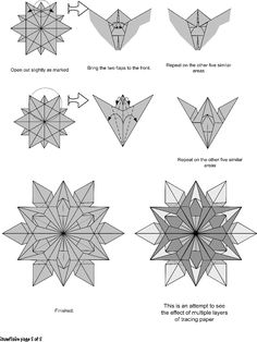 Kirigami Snowflake Tutorial Pointed) 2 Different Origami Snowflakes! Diagrams + Video - Paper Different Origami Snowflakes! Star Wars Origami, Snowflake Origami, Snowflake Template, Origami And Kirigami, Origami Ball, Christmas Origami, Origami Paper, Easy Snowflake, Origami Hearts