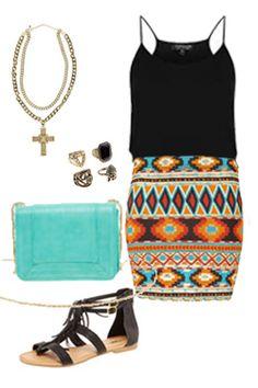 Miss High Street - High Street's Hottest - Aztec mini skirt