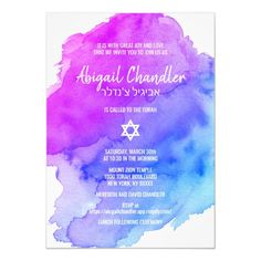 Shop Modern Watercolor Purple Blue Star BAT MITZVAH Invitation created by CustomCardShop. Personalize it with photos & text or purchase as is! Bar Mitzvah Invitations, Custom Invitations, Invitation Cards, Party Invitations, Party Favors, Bat Mitzvah Themes, Bat Mitzvah Party, Jewish Celebrations, Script Lettering