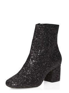 Black 'Adele' Glitter Boot