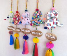 Elephant WELCOME Door Sign, Front Door Welcome Sign, Front Porch Welcome Sign, Stuffed Fabric Elephants Tassels Wholesale Assorted Colors by midgetgems on Etsy