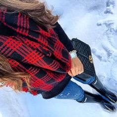 IG @mrscasual <click through to shop this look> blanket scarf. Black sweater tunic. Distressed jeans. Glossy black Hunter boots. Rebecca minkoff black love cross body bag. Michele watch.
