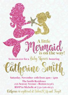 Pink And Gold Mermaid Baby Shower Invitation Personalized Custom Glitter.  Pinkl_gold_mermaid_baby_shower_invitation
