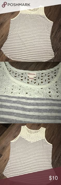 """Merona XXL Eyelet Lace Top, Knit Striped Bottom Merona XXL Eyelet Lace Top, Knit Striped Bottom.  Mint and light Gray Color EUC. Measures approximately 21"""" across chest and 21"""" from neckline to hem. Merona Tops"""