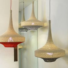 Crochet pendant lamps by Naomi Paul are the first products on show in The Changing Room at Dezeen Super Store.